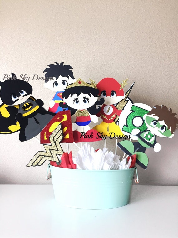 Superheroes centerpiece superhero baby shower decor