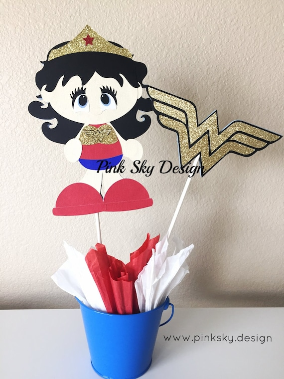 Wonder woman centerpieces set of by pinkskyshop