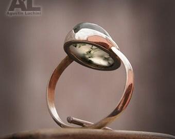Sterling Silver 925 Ring with Moss Agate stone - Anillo de plata con Agata Musgo