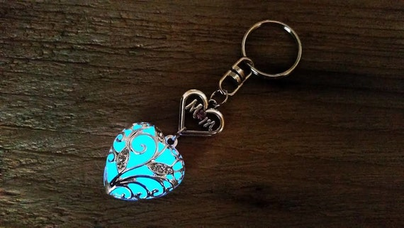 Mom Keychain, Blue Mom Glow in the Dark Heart Key Chain, Gift for Mom, Valentine's Day Gift for Mom, Key Ring, Mothers Day Gift