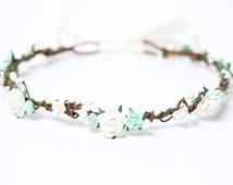 Ivory and Aqua Flower Crown, Rose, Wedding Headpiece, Floral, Mint Flower Crown, Boho, Ivory Crown, Rustic Flower Hair Wreath, Rose Headband