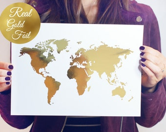 Gold foil map etsy world map poster real gold foil map print gold foil world atlas gumiabroncs Image collections