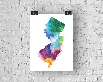 New Jersey Watercolor Map - Giclée Print of Hand Painted Original Art - 5 Colors to Choose From
