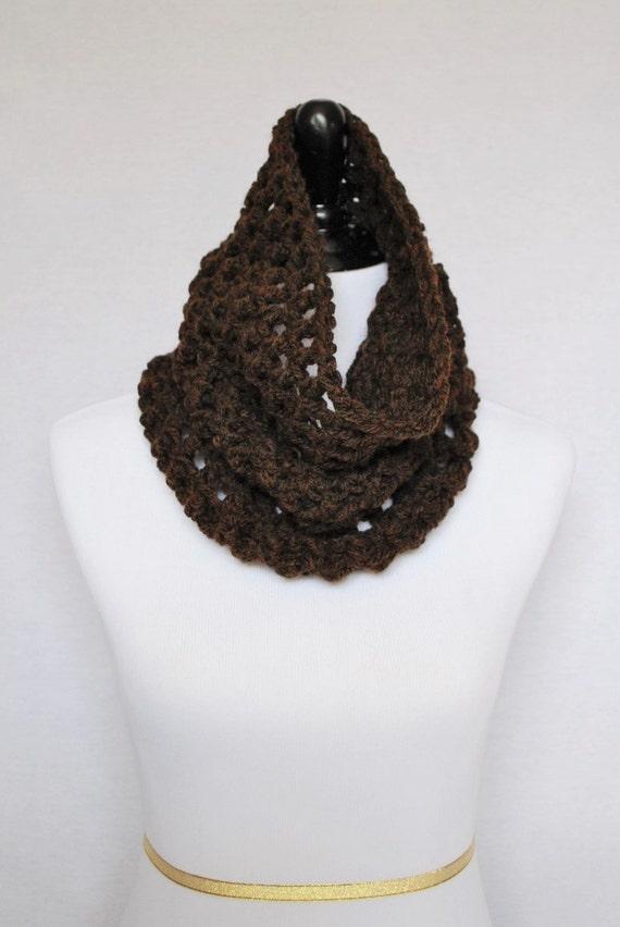 Brown Mesh Crochet Cowl, Dark Brown  Neck Warmer, Chocolate Brown Short Infinity Scarf