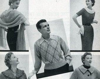 Free Us Ship Fleisher's 1954 Hand Knit Tweet Fashion Book 32 Knitting Men Miss Wiggle Dress Knee Socks Weskit & more 19pgs
