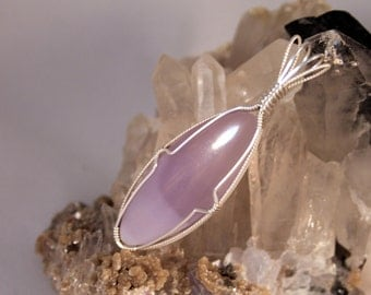 Mexican Fluorite Pendant in .925 Sterling Silver- Handmade Wire Wrapped Pendant- Jewelry Design- Natural Gemstone
