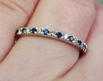 Blue Sapphire Diamond Platinum Wedding Band Stacking Band