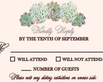 Wedding Response Card - Succulents - Customization Available
