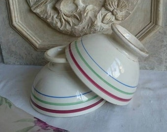Large Vintage Café au Lait Bowls, French Breakfast Bowl, Cereal or Fruit Bowls
