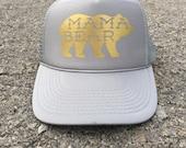 Best Seller Mama Bear, Mama Bear Hat, Snapback, Charcoal hat, gray hat, cute gray trucker hat, cute trucker hat, new mom, new mother