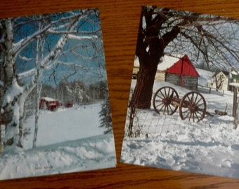 1950's Calendar Sample Lithographs - One Pair of Snowy Scenes