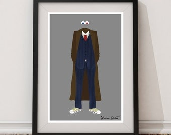 10th Doctor Doctor Who - minimalism doctor who tenth tardis poster art print