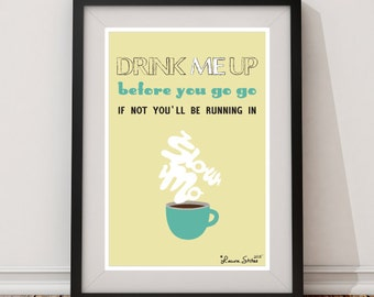 SLOWMO GO GO Coffee Poster - slow mo go go original design coffee bean espresso poster art decor
