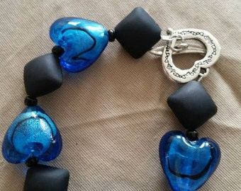 Blue Glass Heart Bracelet