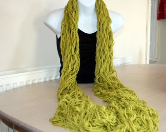 Lime Green Infinity Scarf, Arm Knit Chunky Winter Snood, Long Thick Circle Scarf
