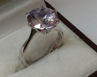 Ring 925 Silver with lilac Crystal stone SR647 noble elegant