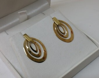 Earrings gold 585 14 K Gold Stud Earrings oval OR100