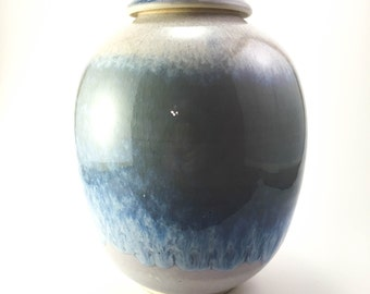 Blue Glazed Studio Pottery Lidded Vessel