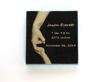 Baby Announcement Photo 5 x 5 Inch Wood Photo Panel - Personalized with Your Baby's Infomation!