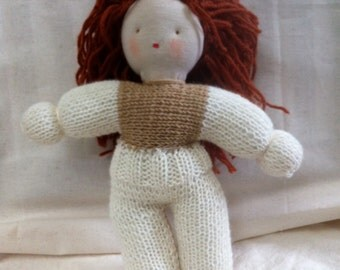 Waldorf Doll 11 inch, hand knitted with pure merino wool