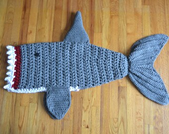 Crochet Shark Blanket - Preschool Size