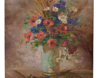 Poppy Oil Painting - French Impressionist Still Life with Summer Flowers by Mangini - French Bouquet - Blue White Red Bunch Picture