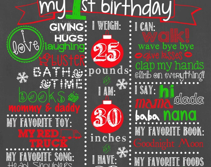 Holiday Birthday Chalkboard Sign / Christmas Birthday Chalkboard / Holiday First Birthday Chalkboard / Baby First Christmas Chalkboard Sign