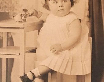 Vintage Photograph of Young Girl, Old Photo of Child, Childs Tea Party Photo