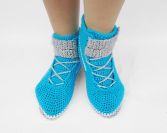 Womens Boots, Shoes for Adults, Crochet Sneakers, Blue Women Shoes, Slippers for Women, Indoor Footwear