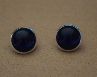 Black glass dome stud earrings. 14mm with surgical steel and nickel free posts