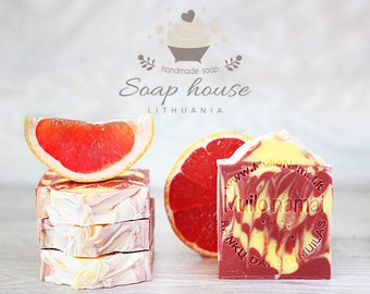 Grapefruit Soap - Handmade and Homemade Soap Bar - All Natural Soap - TipTopEco - Scented Bar - Aromatherapy Properties