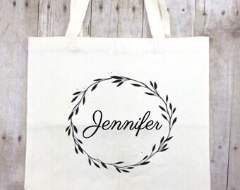 Personalized Tote Bag, Bridesmaid Gift Idea Bridal Party Gift, Bridesmaid Reusable Tote Bag Maid of Honor Reusable Bag Wedding Christmas