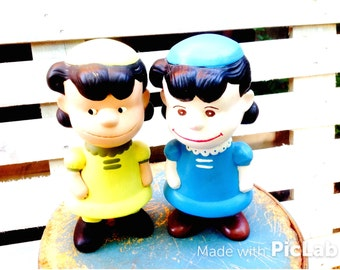 LUCY & LUCY PEANUTS ..Pair of Large  Ceramic Painted Vintage Lucy Statues