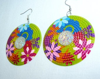 """Earrings round green and multi-colored """"Flowers"""" pop style Bohemia Bohemian flower prints"""