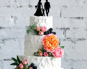 Wedding Couple with Son Cake Topper | Wedding Cake Topper | Bridal Shower Cake Topper | Romantic Cake Topper | Script Cake Topper
