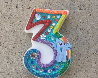 """Handcrafted """"My Little Pony"""" or ANY Themed Birthday Candles- Decorated To Your Liking"""