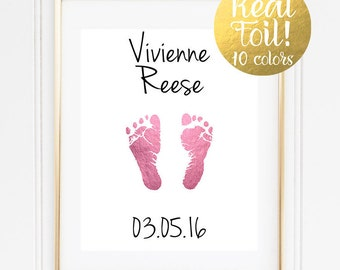 Baby Nursery Decoration / Real Foil Print / Baby Footprints Wall Art / Newborn Print for Nursery / Newborn Baby Gift / Personalized