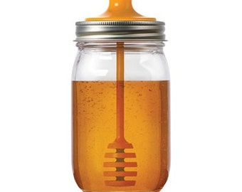 Honey Dipper Lid for Regular Mouth Mason Jars | Mason Jar Honey
