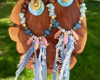 SA-934 Denim & Pink Earrings