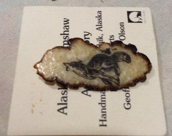Alaska Scrimshaw, Geoff Olson, Walrus Tusk, Lenticular Brooch, Wolf & Seal Scrimshaw Brooch B721-3