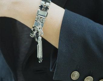 Statement Bracelet Elastic Swarovski Crystal Bracelet Wedding Bracelet Cuff Black Bracelet Valentines Day Gift Swarovski  Crystal Jewelry