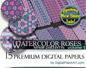 Small Watercolor Roses Digital Paper pack. Rose digital paper. Floral digital paper. Floral scrapbooking paper. floral decoupage Roses paper