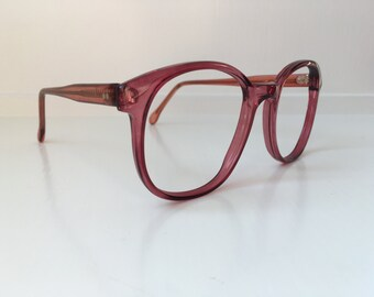 Vintage Wine Red Eyeglass Frames - Oversized Eyeglasses - Purple Maroon Clear Glasses - Clear NO Lenses Deadstock NOS 93