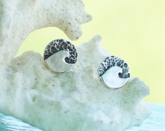 Silver Wave Stud Earrings