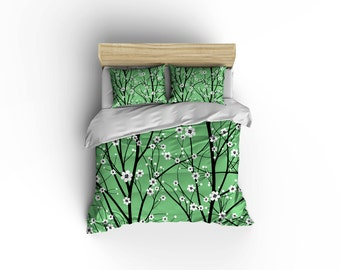Cherry tree Duvet cover,Hawaiian Duvet cover,cherry blossoms duvet,bed and bath,,Hawaiian Culture, comforter cover,Hawaiian print bedding.