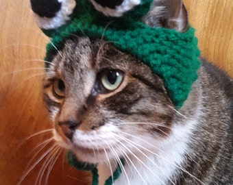 Cat Frog Hat, knit hat for cat, cat costume, halloween
