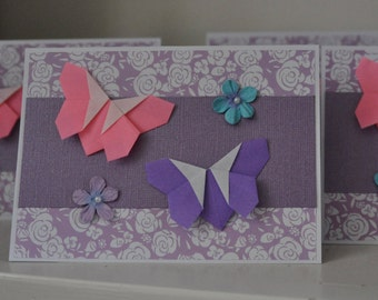 Set of 5 Origami Butterfly Cards (Blank Inside)