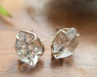 KIKY, Herkimerdiamond-type Himalayan Rough Crystal Earrings