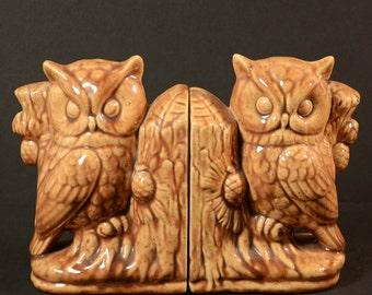 Vintage Owl Ceramic Bookends, Home Bookshelf Library Interior Decor, 2 Piece Set Halloween Decor