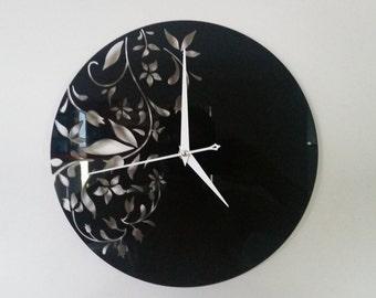 Floral Design Acrylic Clock
